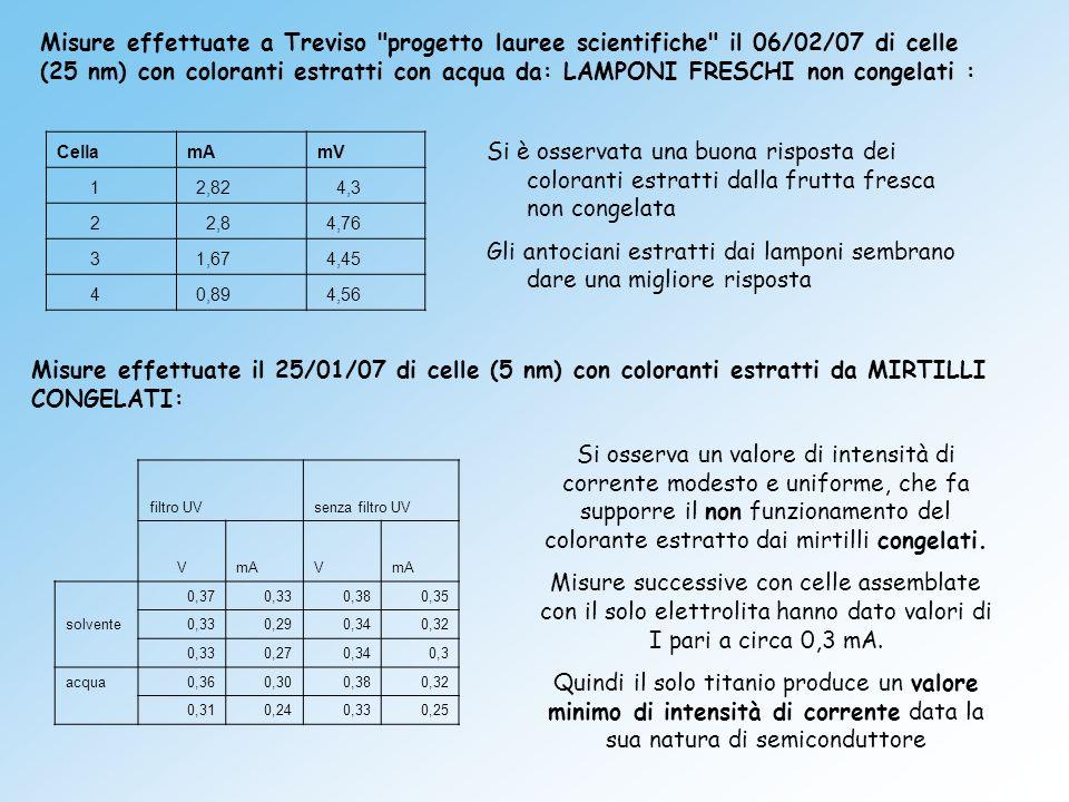 Cella mA mV 1 2,82 4,3 2 2,8 4,76 3 1,67 4,45 4 0,89 4,56 Misure effettuate a Treviso