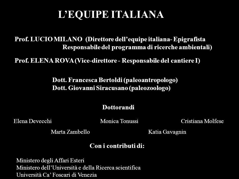 Prof. ELENA ROVA (Vice-direttore - Responsabile del cantiere I) Prof. LUCIO MILANO (Direttore dellequipe italiana- Epigrafista Responsabile del progra