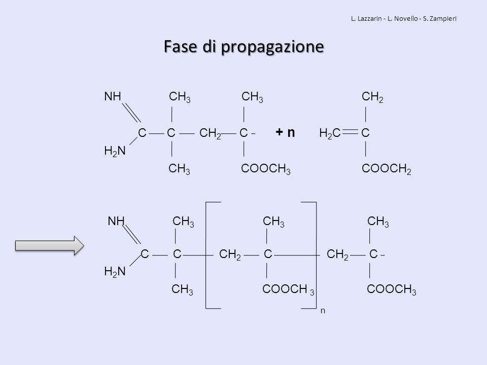 Fase di propagazione NH CH 3 CH 3 CH 2 C C CH 2 C + n H 2 C C H 2 N CH 3 COOCH 3 COOCH 2 NH CH 3 CH 3 CH 3 C C CH 2 C CH 2 C H 2 N CH 3 COOCH 3 COOCH