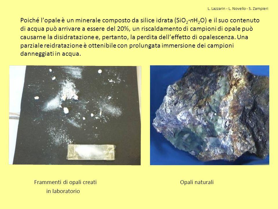 Poiché lopale è un minerale composto da silice idrata (SiO 2 ·nH 2 O) e il suo contenuto di acqua può arrivare a essere del 20%, un riscaldamento di c