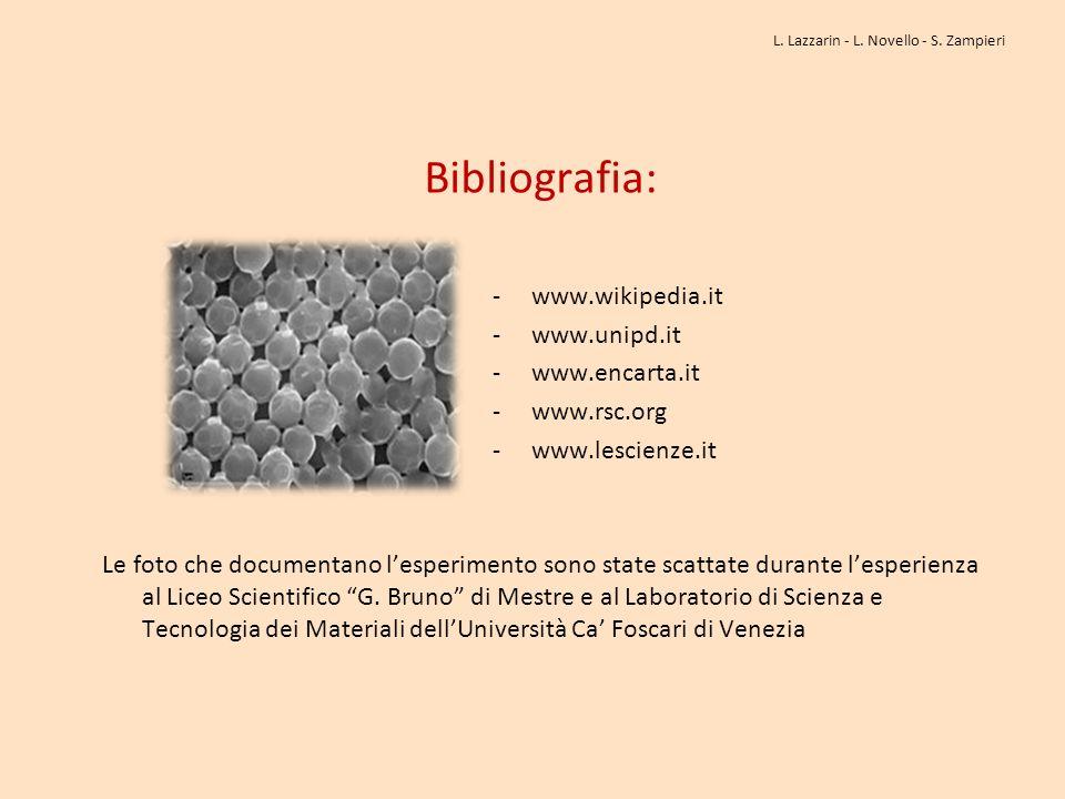 Bibliografia: - www.wikipedia.it - www.unipd.it - www.encarta.it - www.rsc.org - www.lescienze.it Le foto che documentano lesperimento sono state scat