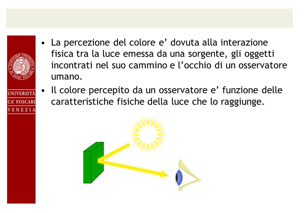La percezione del colore e dovuta alla interazione fisica tra la luce emessa da una sorgente, gli oggetti incontrati nel suo cammino e locchio di un o
