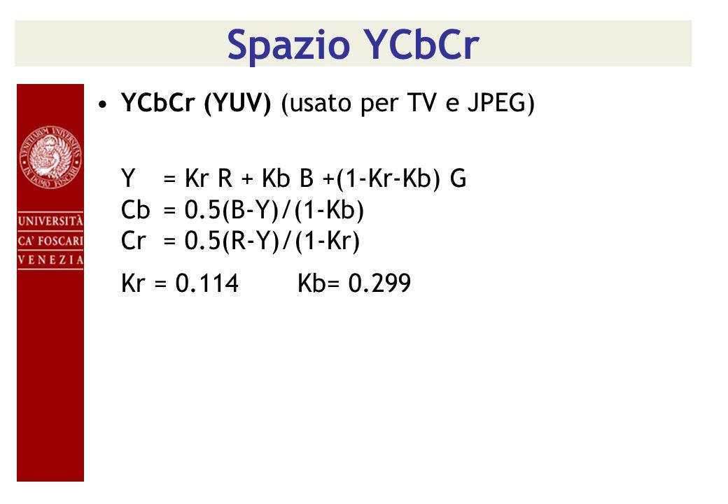 Spazio YCbCr YCbCr (YUV) (usato per TV e JPEG) Y= Kr R + Kb B +(1-Kr-Kb) G Cb= 0.5(B-Y)/(1-Kb) Cr= 0.5(R-Y)/(1-Kr) Kr = 0.114Kb= 0.299