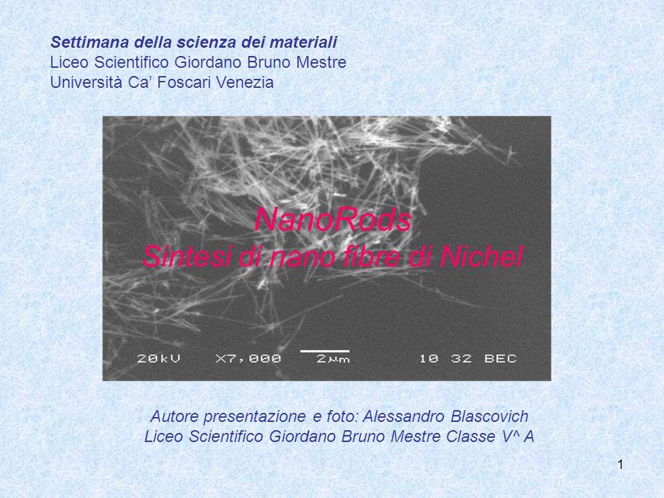 1 NanoRods Sintesi di nano fibre di Nichel Settimana della scienza dei materiali Liceo Scientifico Giordano Bruno Mestre Università Ca Foscari Venezia