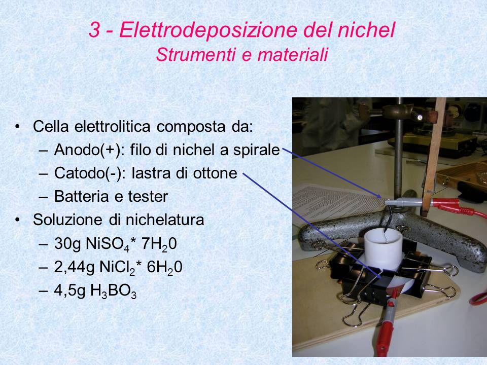 15 3 - Elettrodeposizione del nichel Strumenti e materiali Cella elettrolitica composta da: –Anodo(+): filo di nichel a spirale –Catodo(-): lastra di
