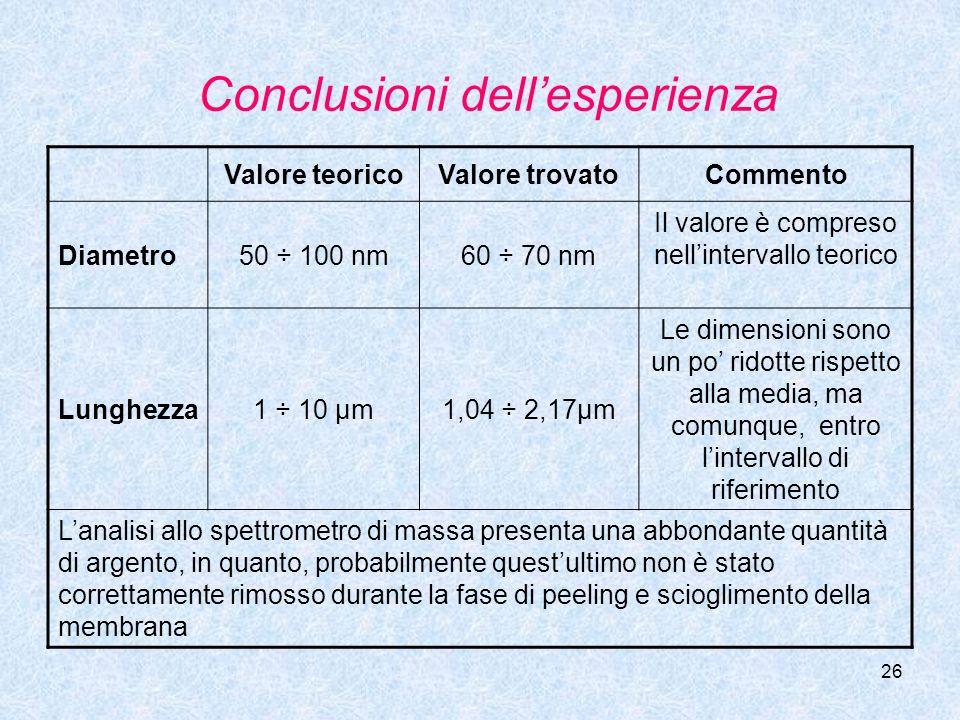 26 Conclusioni dellesperienza Valore teoricoValore trovatoCommento Diametro50 ÷ 100 nm60 ÷ 70 nm Il valore è compreso nellintervallo teorico Lunghezza