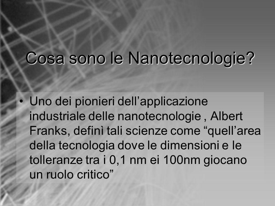 Cosasono le Nanotecnologie? Cosa sono le Nanotecnologie? Uno dei pionieri dellapplicazione industriale delle nanotecnologie, Albert Franks, definì tal