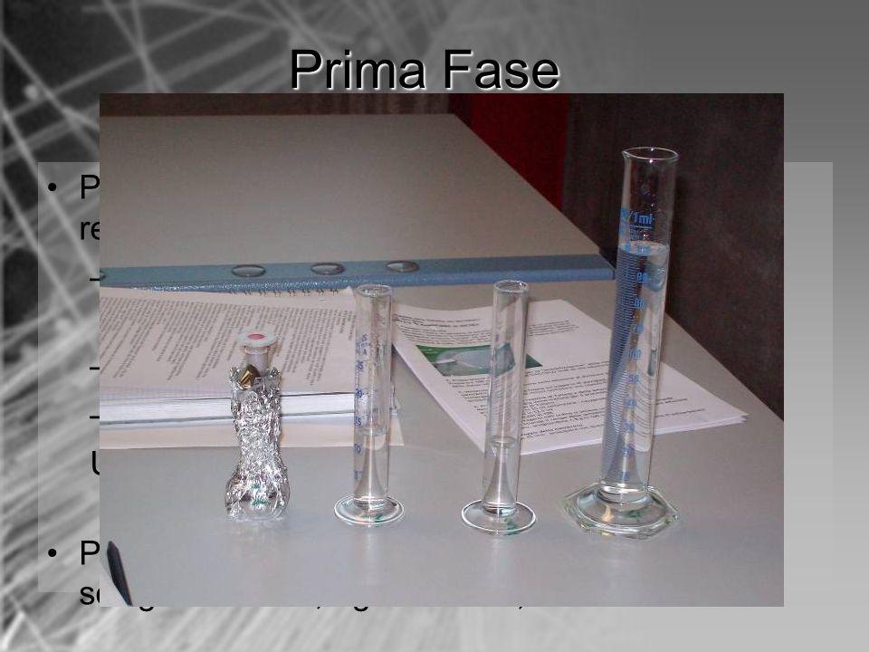 Dopo 45 min sciacquare con acqua distillata la membrana di policarbonato; Immergere la membrana nel reattivo di Tollens per 10 minuti in un recipiente trasparente; Passati 10 min si aggiungono 75 ml di soluzione di glucosio, si agita la soluzione per 1 minuto circa, finchè sulle pareti del recipiente non si nota la formazione di uno specchio argentato; Prima Fase