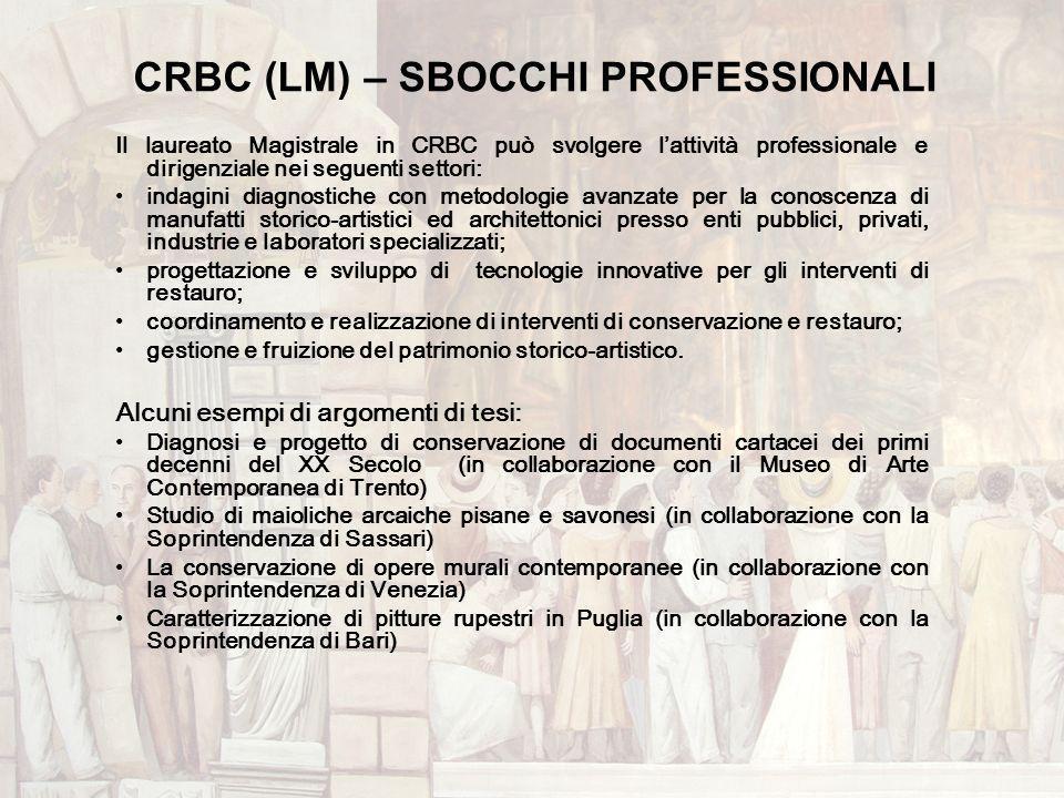 CRBC (LM) – SBOCCHI PROFESSIONALI Il laureato Magistrale in CRBC può svolgere lattività professionale e dirigenziale nei seguenti settori: indagini di