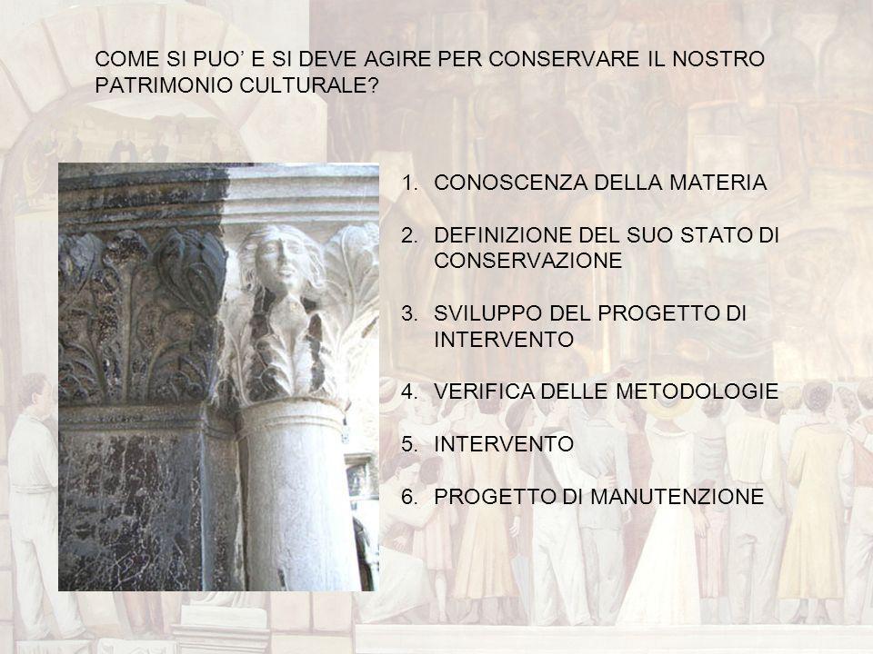 1.CONOSCENZA DELLA MATERIA 2.DEFINIZIONE DEL SUO STATO DI CONSERVAZIONE 3.SVILUPPO DEL PROGETTO DI INTERVENTO 4.VERIFICA DELLE METODOLOGIE 5.INTERVENT