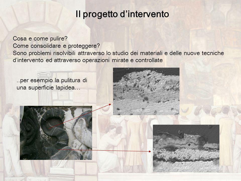 Il progetto dintervento Cosa e come pulire? Come consolidare e proteggere? Sono problemi risolvibili attraverso lo studio dei materiali e delle nuove