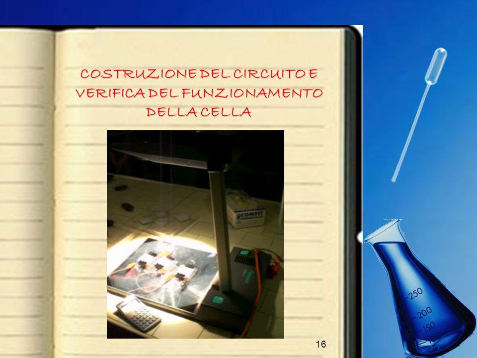 16 COSTRUZIONE DEL CIRCUITO E VERIFICA DEL FUNZIONAMENTO DELLA CELLA