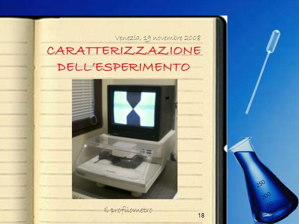 18 CARATTERIZZAZIONE DELLESPERIMENTO Venezia, 19 novembre 2008 Il profilometro