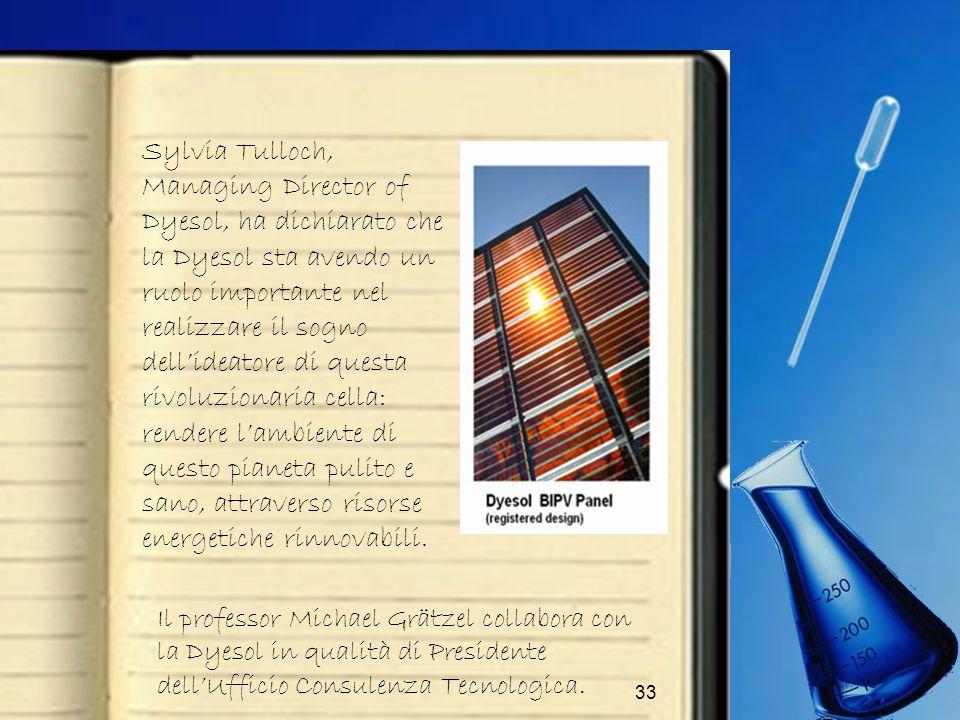 33 Sylvia Tulloch, Managing Director of Dyesol, ha dichiarato che la Dyesol sta avendo un ruolo importante nel realizzare il sogno dellideatore di que