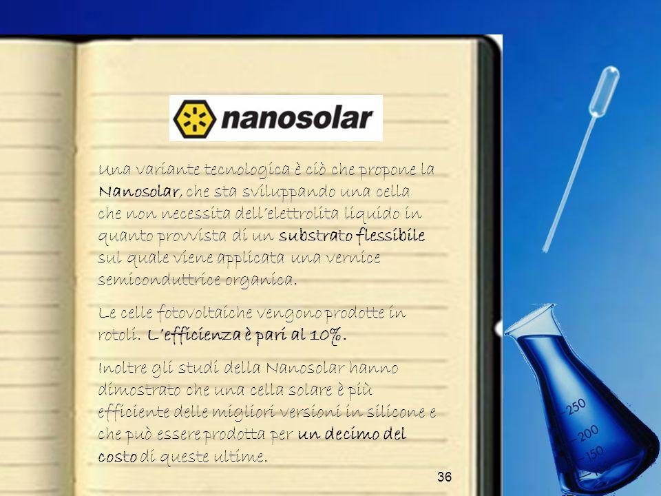 36 Una variante tecnologica è ciò che propone la Nanosolar, che sta sviluppando una cella che non necessita dellelettrolita liquido in quanto provvist
