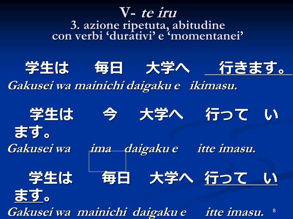 8 V- te iru 3. azione ripetuta, abitudine con verbi durativi e momentanei Gakusei wa mainichi daigaku e ikimasu. Gakusei wa mainichi daigaku e ikimasu