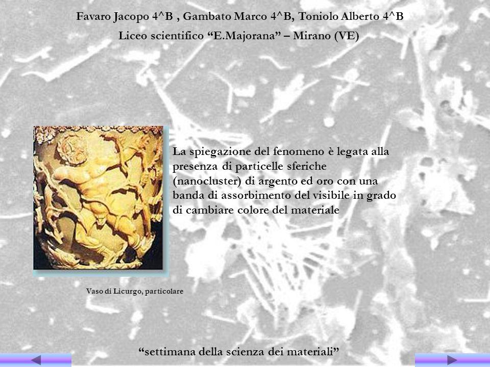 Favaro Jacopo 4^B, Gambato Marco 4^B, Toniolo Alberto 4^B Liceo scientifico E.Majorana – Mirano (VE) settimana della scienza dei materiali La spiegazi
