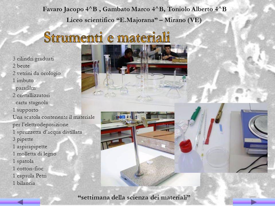 Favaro Jacopo 4^B, Gambato Marco 4^B, Toniolo Alberto 4^B Liceo scientifico E.Majorana – Mirano (VE) settimana della scienza dei materiali 3 cilindri