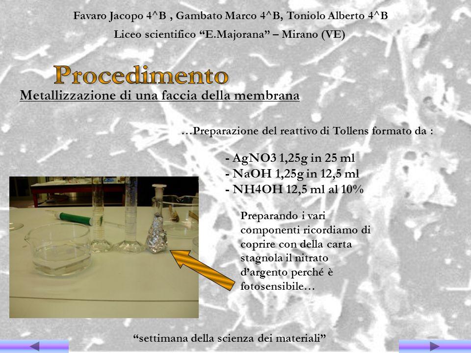 Favaro Jacopo 4^B, Gambato Marco 4^B, Toniolo Alberto 4^B Liceo scientifico E.Majorana – Mirano (VE) settimana della scienza dei materiali Metallizzaz