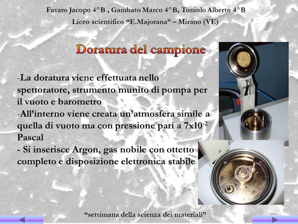Favaro Jacopo 4^B, Gambato Marco 4^B, Toniolo Alberto 4^B Liceo scientifico E.Majorana – Mirano (VE) settimana della scienza dei materiali -La doratur