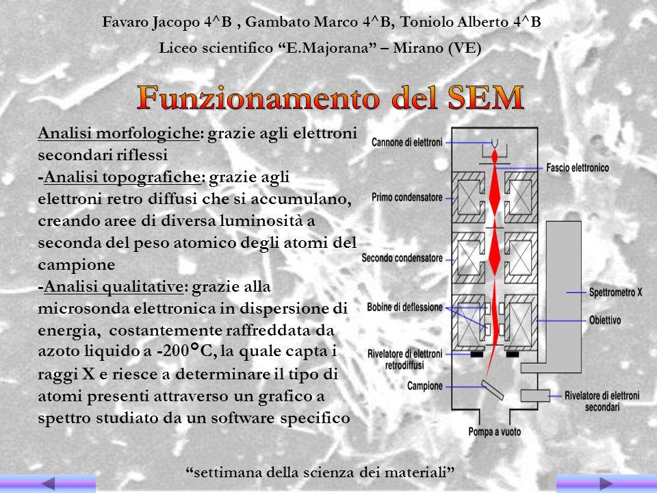 Favaro Jacopo 4^B, Gambato Marco 4^B, Toniolo Alberto 4^B Liceo scientifico E.Majorana – Mirano (VE) settimana della scienza dei materiali Analisi mor