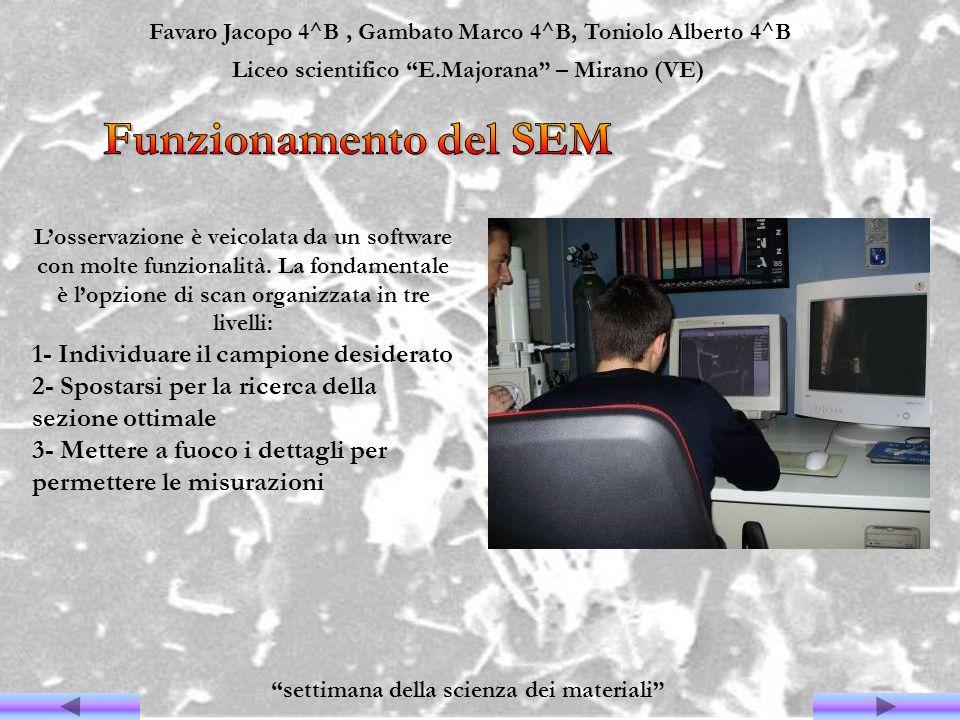 Favaro Jacopo 4^B, Gambato Marco 4^B, Toniolo Alberto 4^B Liceo scientifico E.Majorana – Mirano (VE) settimana della scienza dei materiali Losservazio