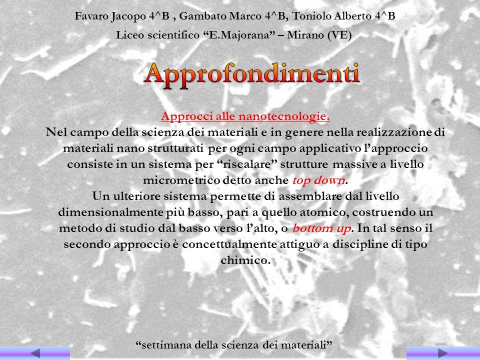 Favaro Jacopo 4^B, Gambato Marco 4^B, Toniolo Alberto 4^B Liceo scientifico E.Majorana – Mirano (VE) settimana della scienza dei materiali Approcci al