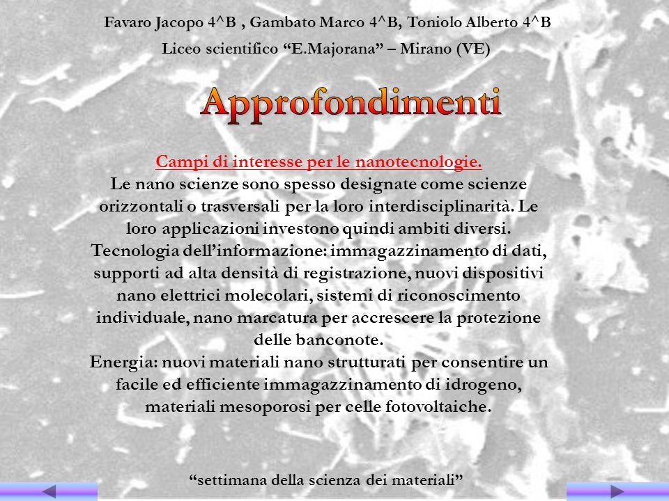 Favaro Jacopo 4^B, Gambato Marco 4^B, Toniolo Alberto 4^B Liceo scientifico E.Majorana – Mirano (VE) settimana della scienza dei materiali Campi di in