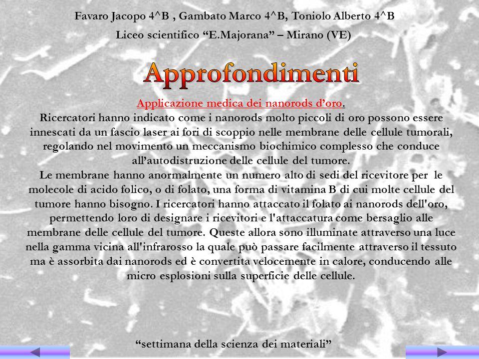 Favaro Jacopo 4^B, Gambato Marco 4^B, Toniolo Alberto 4^B Liceo scientifico E.Majorana – Mirano (VE) settimana della scienza dei materiali Applicazion