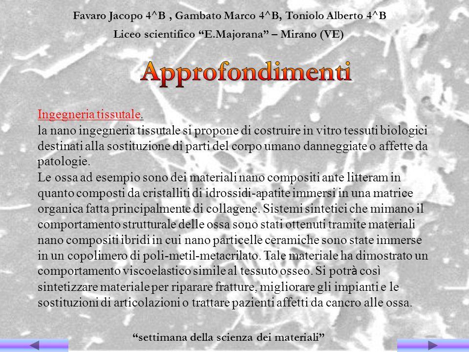 Favaro Jacopo 4^B, Gambato Marco 4^B, Toniolo Alberto 4^B Liceo scientifico E.Majorana – Mirano (VE) settimana della scienza dei materiali Ingegneria