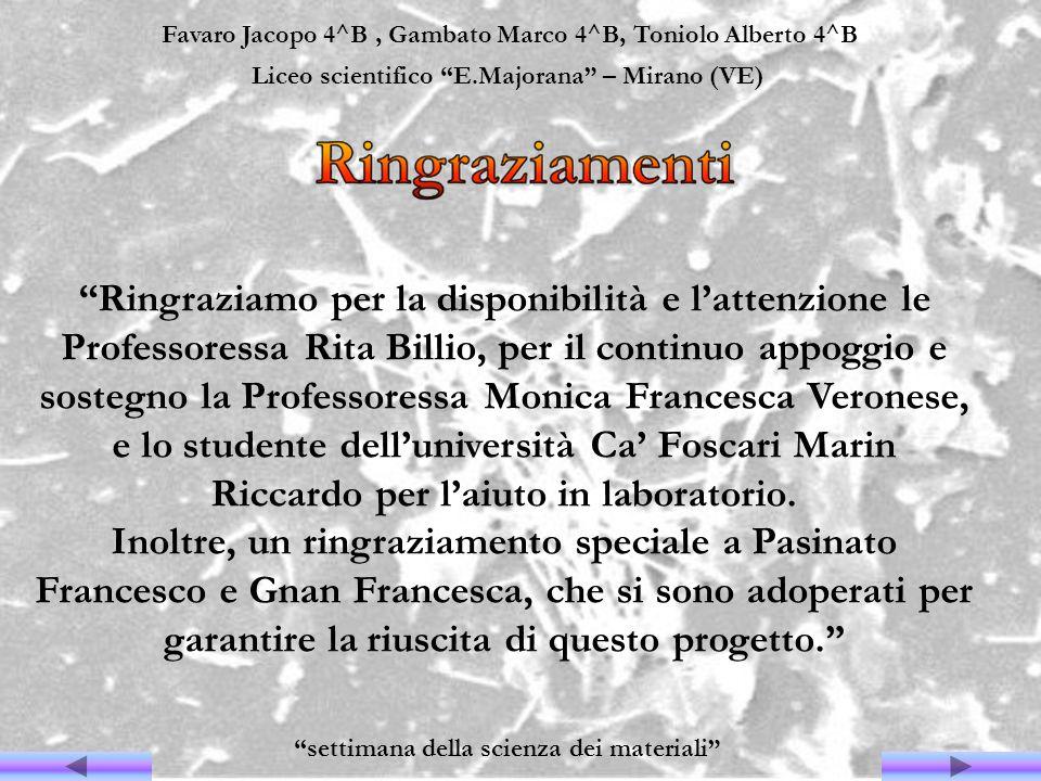Favaro Jacopo 4^B, Gambato Marco 4^B, Toniolo Alberto 4^B Liceo scientifico E.Majorana – Mirano (VE) settimana della scienza dei materiali Ringraziamo