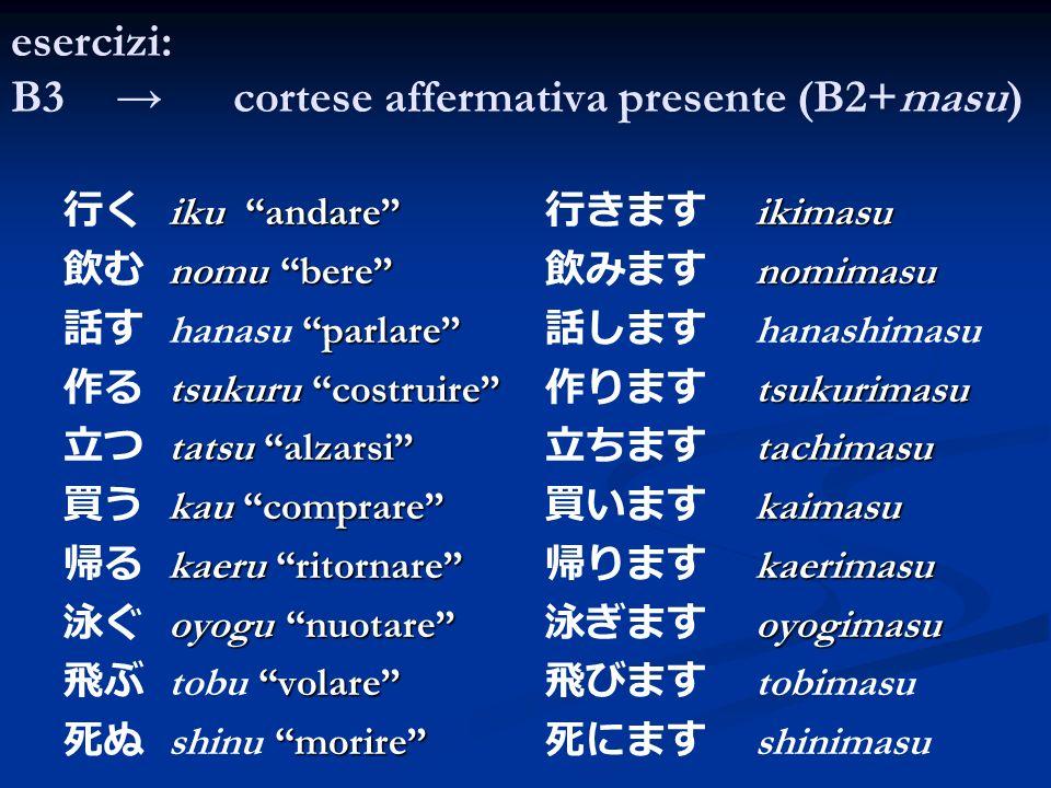 esercizi: B3 cortese affermativa presente (B2+masu) iku andare nomu bere parlare hanasu parlare tsukuru costruire tatsu alzarsi kau comprare kaeru rit