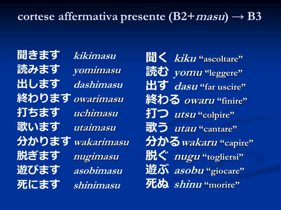 cortese affermativa presente (B2+masu) B3 kikimasu mimasu yomimasu dashimasu owarimasu uchimasu utaimasu wakarimasu nugimasu asobimasu shinimasu kiku