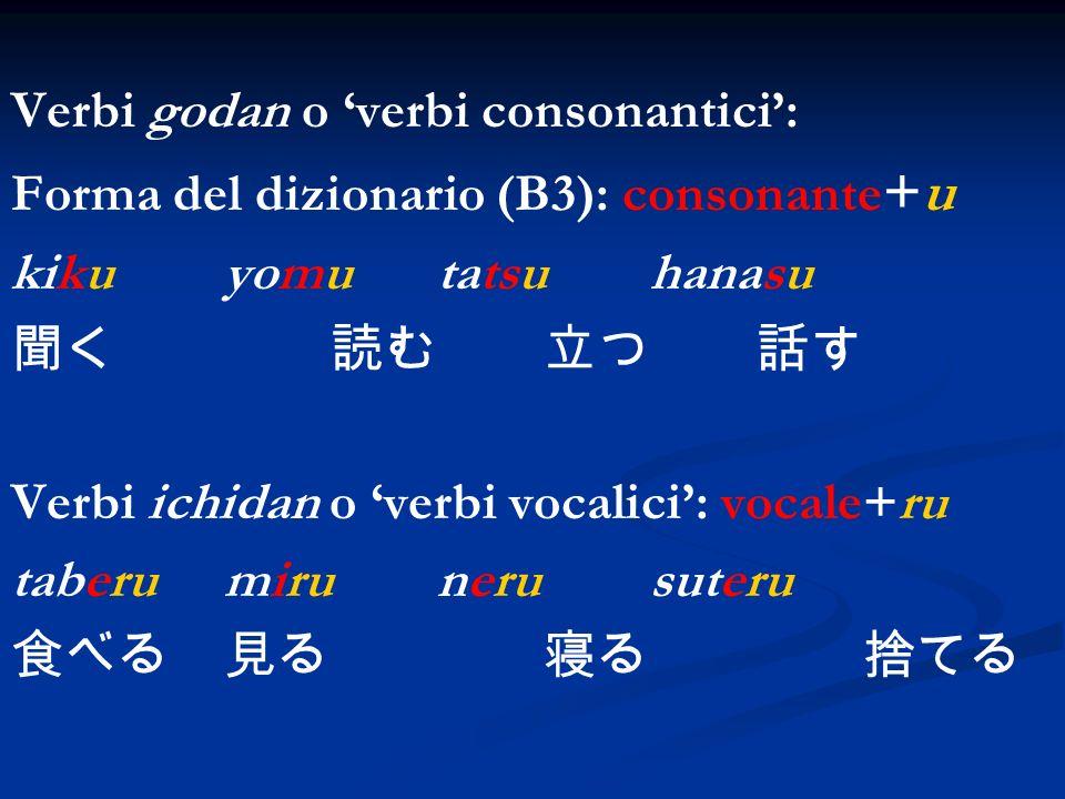 Verbi godan o verbi consonantici: Forma del dizionario (B3): consonante +u kikuyomutatsuhanasu Verbi ichidan o verbi vocalici: vocale+ru taberumiruner