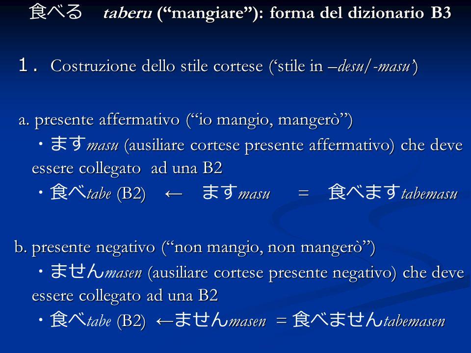 taberu (mangiare): forma del dizionario B3 Costruzione dello stile cortese (stile in –desu/-masu) Costruzione dello stile cortese (stile in –desu/-mas