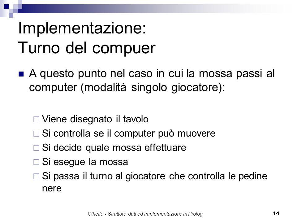 Othello - Strutture dati ed implementazione in Prolog14 Implementazione: Turno del compuer A questo punto nel caso in cui la mossa passi al computer (