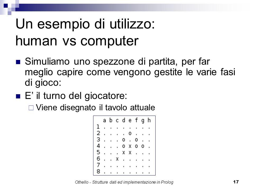 Othello - Strutture dati ed implementazione in Prolog17 Un esempio di utilizzo: human vs computer Simuliamo uno spezzone di partita, per far meglio ca