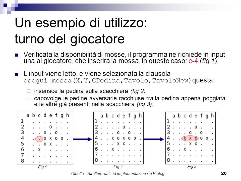 Othello - Strutture dati ed implementazione in Prolog20 Un esempio di utilizzo: turno del giocatore Verificata la disponibilità di mosse, il programma