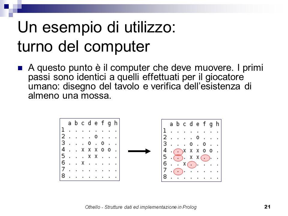 Othello - Strutture dati ed implementazione in Prolog21 Un esempio di utilizzo: turno del computer A questo punto è il computer che deve muovere. I pr
