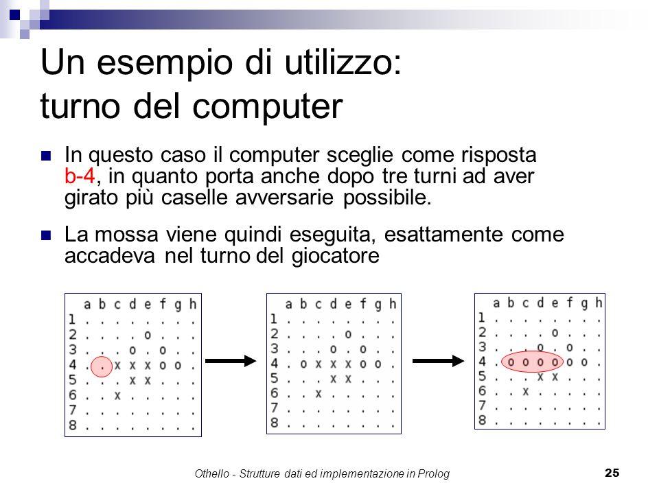 Othello - Strutture dati ed implementazione in Prolog25 Un esempio di utilizzo: turno del computer In questo caso il computer sceglie come risposta b-