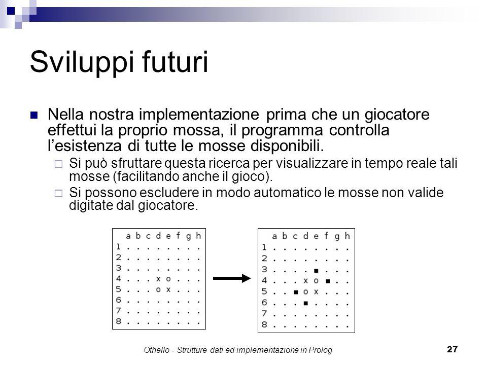 Othello - Strutture dati ed implementazione in Prolog27 Sviluppi futuri Nella nostra implementazione prima che un giocatore effettui la proprio mossa,