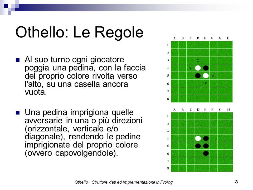 Othello - Strutture dati ed implementazione in Prolog3 Othello: Le Regole Al suo turno ogni giocatore poggia una pedina, con la faccia del proprio col