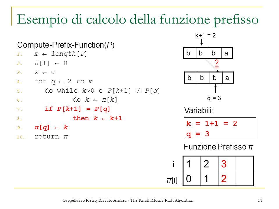 Cappellazzo Pietro, Rizzato Andrea - The Knuth Morris Pratt Algorithm 11 Esempio di calcolo della funzione prefisso 1. m length[P] 2. π[1] 0 3. k 0 4.
