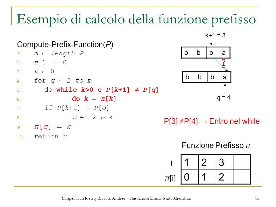 Cappellazzo Pietro, Rizzato Andrea - The Knuth Morris Pratt Algorithm 12 Esempio di calcolo della funzione prefisso 1. m length[P] 2. π[1] 0 3. k 0 4.