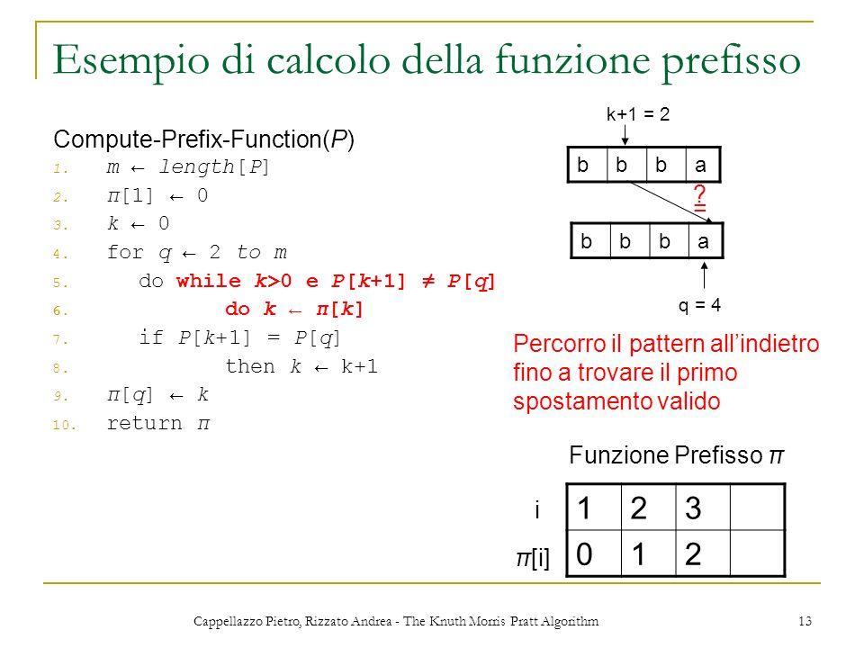 Cappellazzo Pietro, Rizzato Andrea - The Knuth Morris Pratt Algorithm 13 Esempio di calcolo della funzione prefisso 1. m length[P] 2. π[1] 0 3. k 0 4.