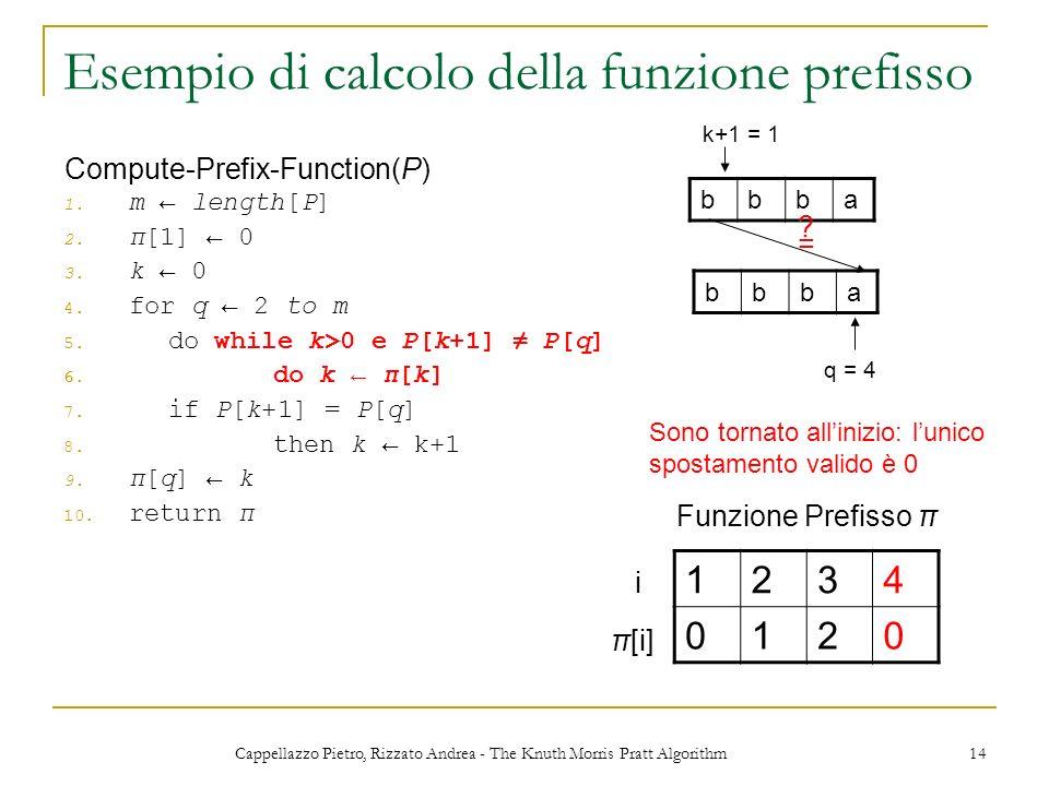 Cappellazzo Pietro, Rizzato Andrea - The Knuth Morris Pratt Algorithm 14 Esempio di calcolo della funzione prefisso 1. m length[P] 2. π[1] 0 3. k 0 4.