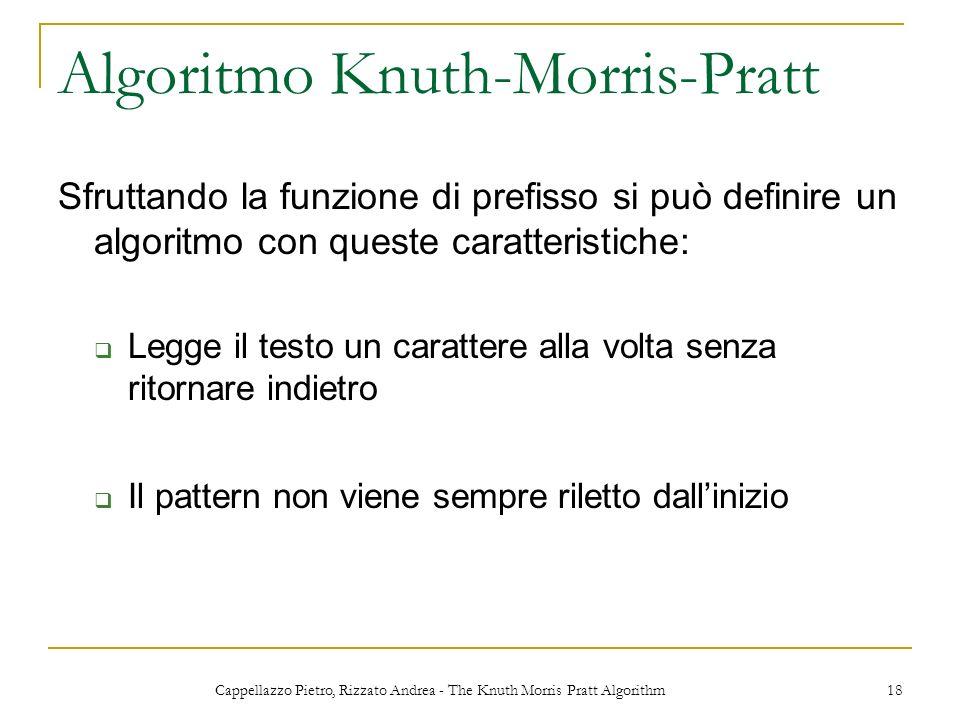 Cappellazzo Pietro, Rizzato Andrea - The Knuth Morris Pratt Algorithm 18 Algoritmo Knuth-Morris-Pratt Sfruttando la funzione di prefisso si può defini