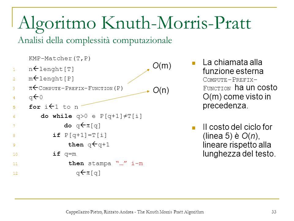 Cappellazzo Pietro, Rizzato Andrea - The Knuth Morris Pratt Algorithm 33 Algoritmo Knuth-Morris-Pratt Analisi della complessità computazionale KMP-Mat