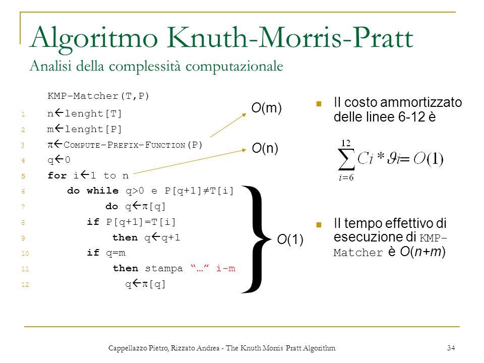 Cappellazzo Pietro, Rizzato Andrea - The Knuth Morris Pratt Algorithm 34 Algoritmo Knuth-Morris-Pratt Analisi della complessità computazionale KMP-Mat