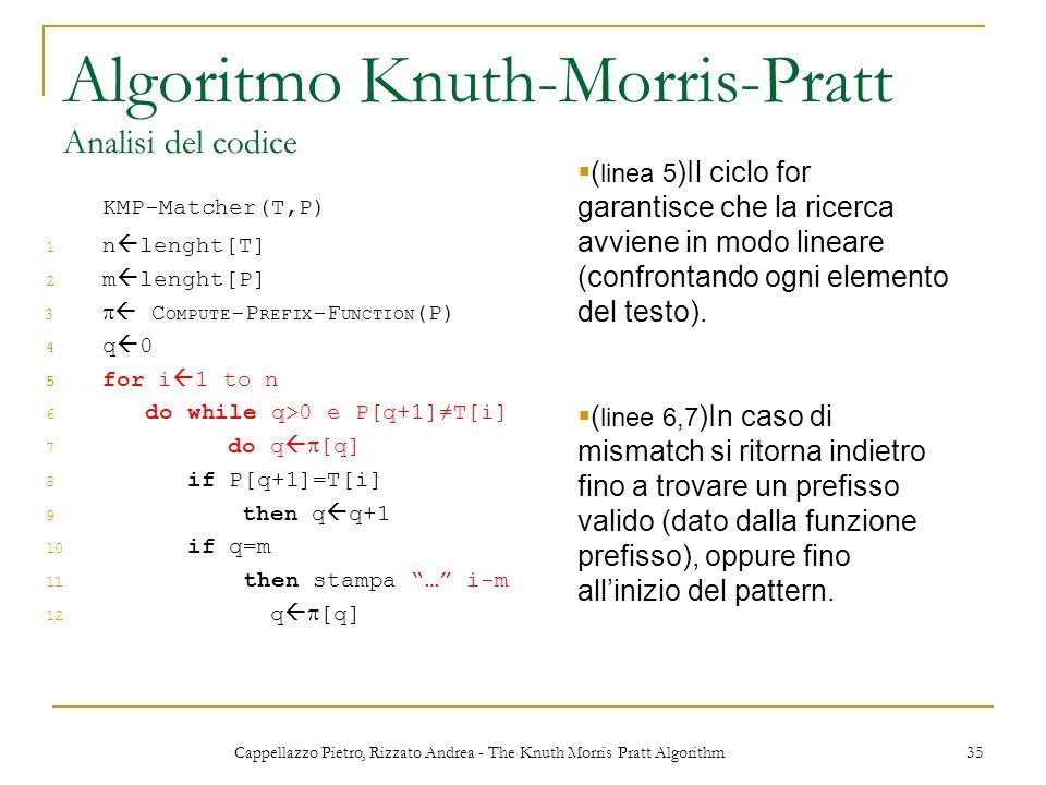 Cappellazzo Pietro, Rizzato Andrea - The Knuth Morris Pratt Algorithm 35 Algoritmo Knuth-Morris-Pratt Analisi del codice KMP-Matcher(T,P) 1 n lenght[T